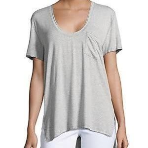 Free people riding sun scoop neck patch pocket tee